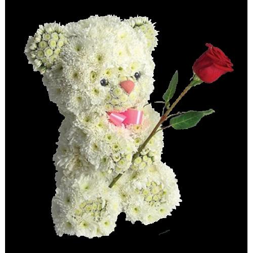Купить на заказ Заказать Медвежонок с цветком с доставкой по Усть-Каменогорску с доставкой в Усть-Каменогорске