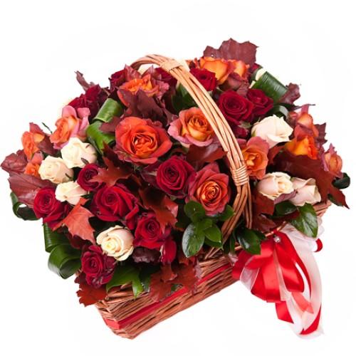 Купить на заказ Заказать Корзина с цветами 10 с доставкой по Усть-Каменогорску с доставкой в Усть-Каменогорске