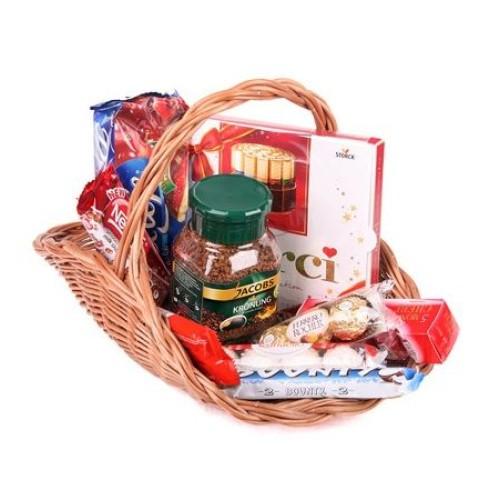 Купить на заказ Заказать Кофейно-конфетная корзина с доставкой по Усть-Каменогорску с доставкой в Усть-Каменогорске