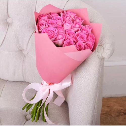 Купить на заказ Заказать Букет из 21 розовой розы с доставкой по Усть-Каменогорску с доставкой в Усть-Каменогорске