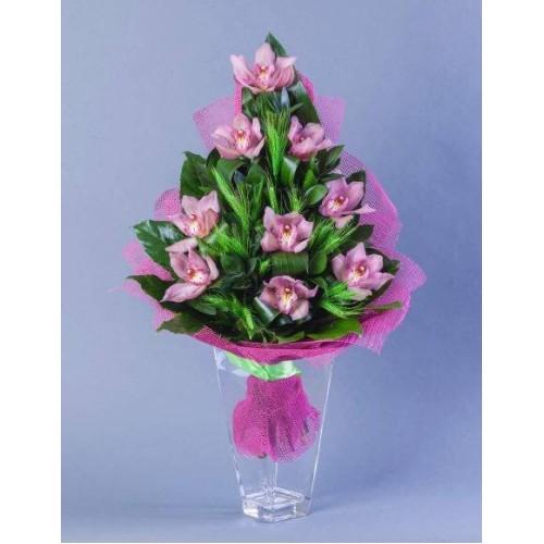 Купить на заказ Заказать Букет из 9 Орхидей с доставкой по Усть-Каменогорску с доставкой в Усть-Каменогорске
